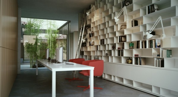 This unique office would be sure to inspire creativity in the least motivated individual with its soaring ceilings, outside views and interesting built-in cubby shelving spanning the wall from floor to ceiling.