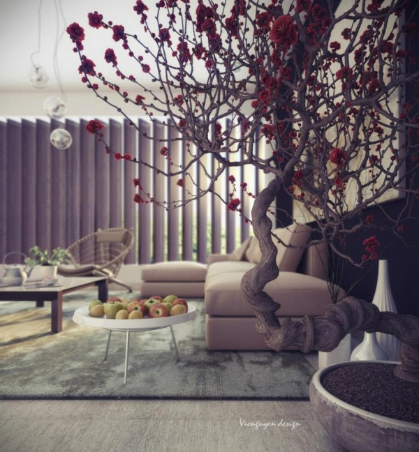Living elements such as the blossoming tree give this living space a courtyard feel.