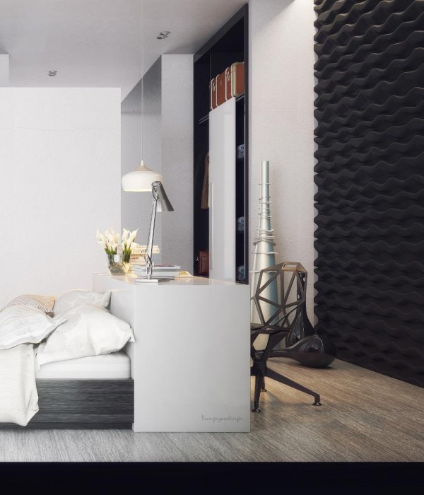 A modern bedroom is filled with textural elements including a myriad of metal ones which play nicely off rich wood ones.