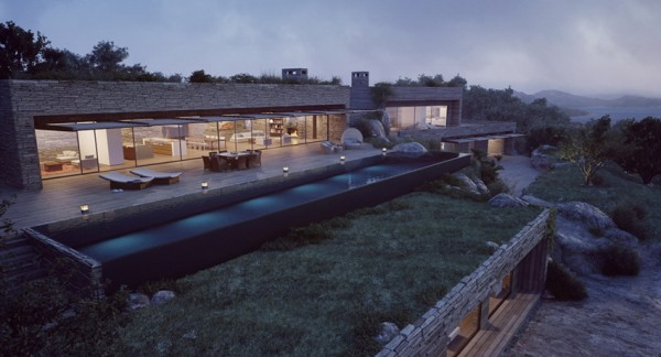 modern mountainside villa with pool at night