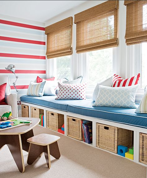 nautical style child's room with organic blinds and blue accents