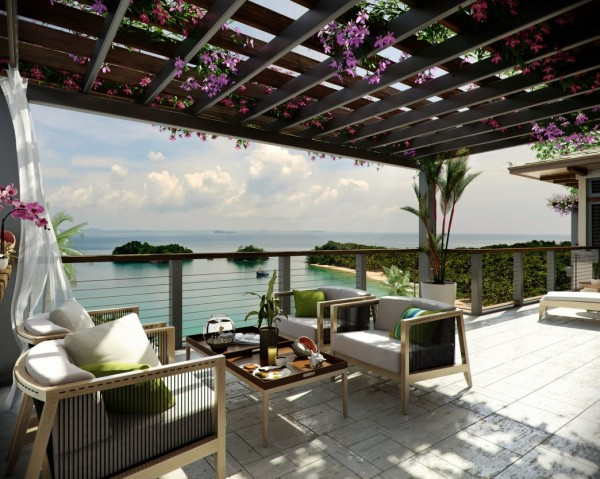 ocean view patio with bouganvillea outdoor lounge