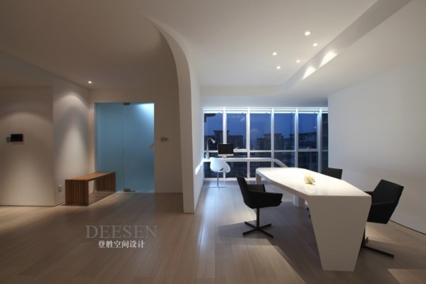 office wing white with down lighting and view
