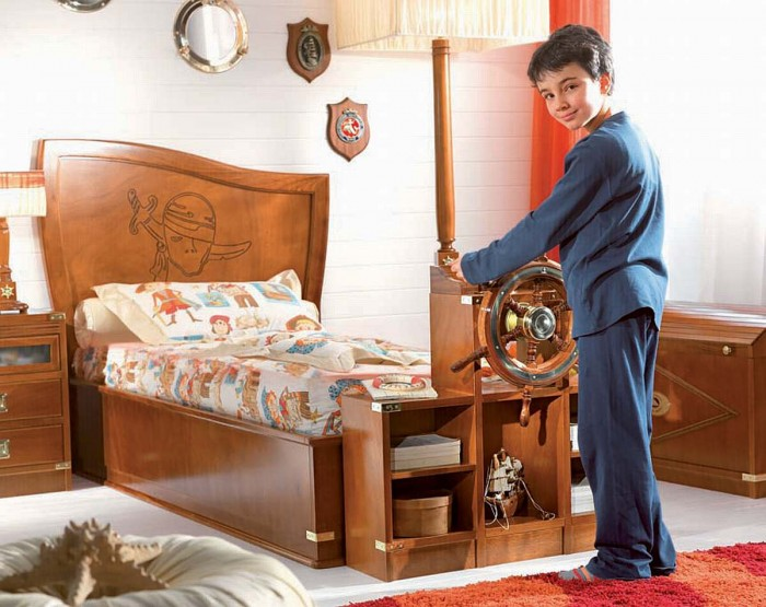 pirate themed wooden bed boys room