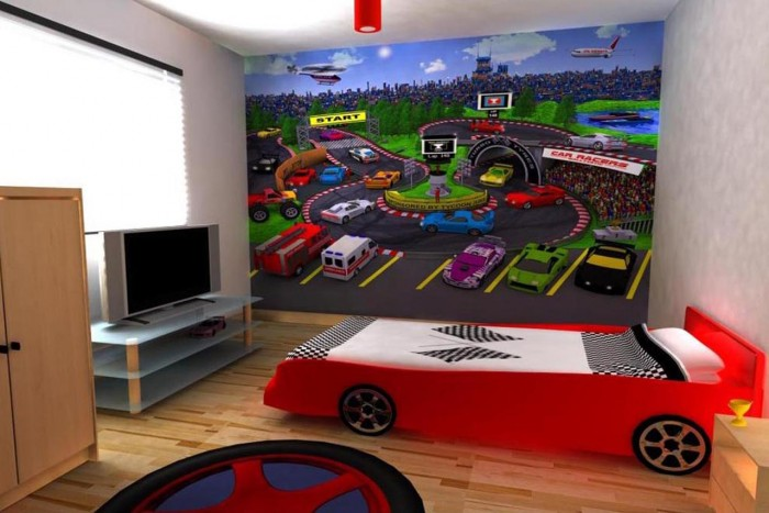 race car themed feature wall boys room
