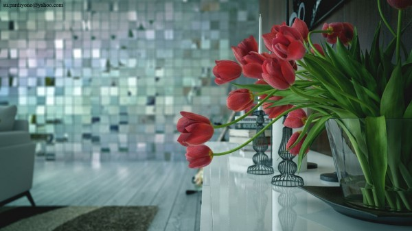 red tulips stark metalic grey living modern
