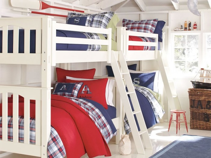 red white and blue bunk beds boys room