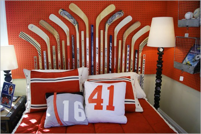 red white and blue sports themed boys room