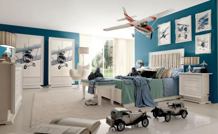 red white and teal aeronautical themed boys room