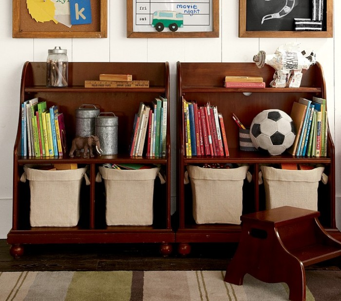 retro storage solution in dark varnished wood with children's accesories
