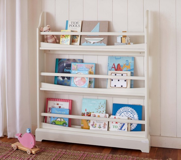 shabby chic child's room storage agains whitewash timber