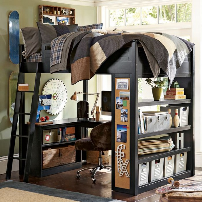 skateboard themed bunk bed with workspace boys room