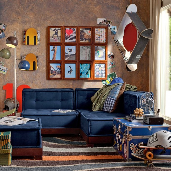 skateboarding themed boys room blue lounge