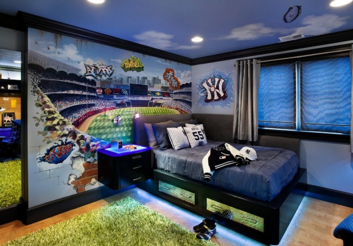 sport themed yankies boys room blue