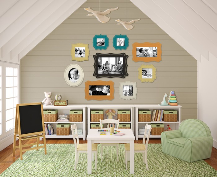 susannsaarelphotography.com Attic style child's room Photo collection storage in pastel