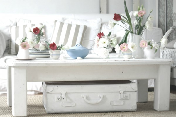 vintage white coffee table suitcase with floral collection