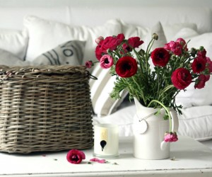 vintage white living with crimson floral display