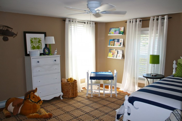white and natural boys room contrasting linen