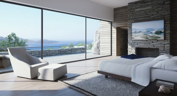 white and stone bedroom with view and fireplace