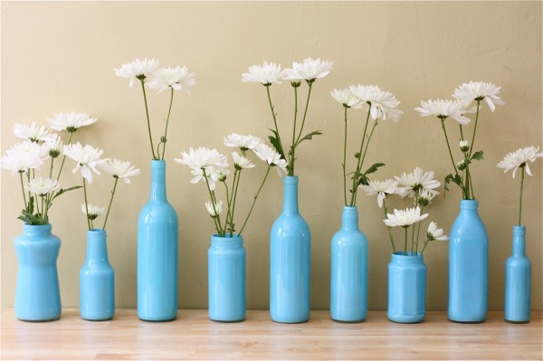 white floral collection in blue air brushed bottles