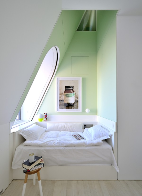 Bedroom annex in pastel peppermint green