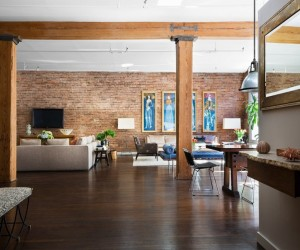 Brick Wall Studio Apartment by Stephan JAKLITSCH : GARDNER - open plan exposed beam living dining