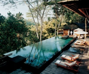 Como Shambhala Estate Bali- deckchairs and infinity pool with views