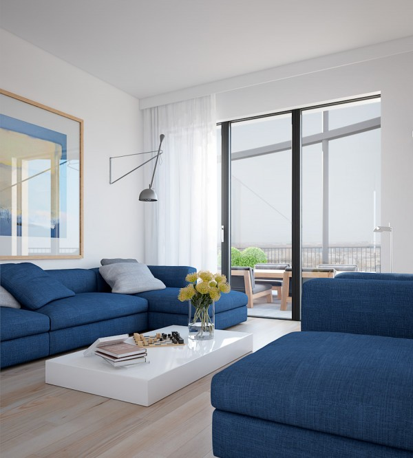 Cool blue apartment- bright couches with solid white coffee table platform and floral styling