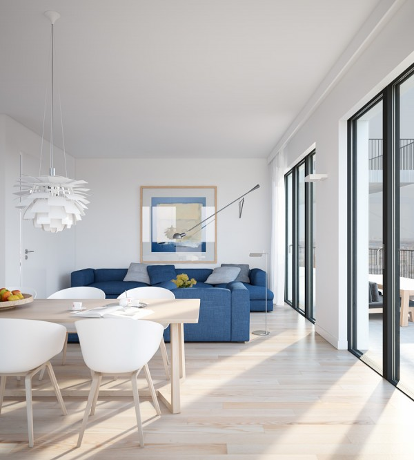 Cool blue apartment- open plan living dining with modern pendant light and large windows