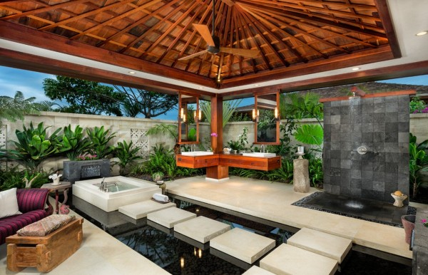 Ethan Tweedie- tropical outdoor living floating on water feature pond with oriental vibe