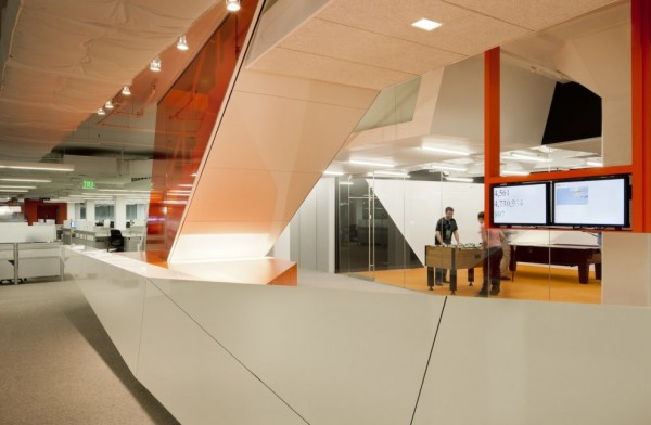 Kayak Startup Tech Office- high gloss panelling in white and orange with down lighting