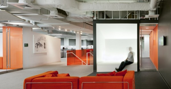 Kayak Startup Tech Office- industrial style exposure white and orange palette
