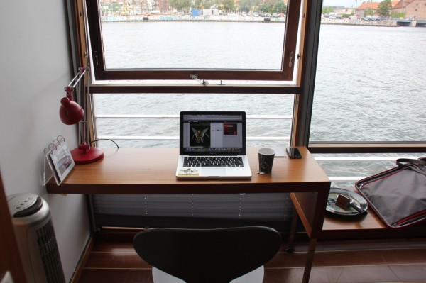 Minimal Desks- window set desk with views over the water