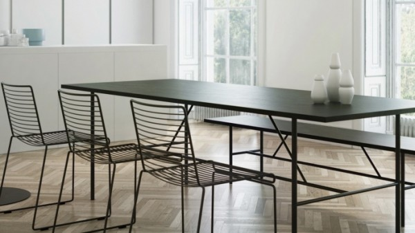 Minimal Dining in black with blonde wooden flooring