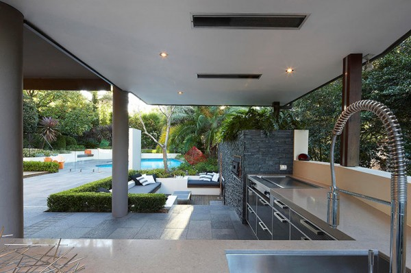 Outdoor Living with Sunken Lounge- kitchen food preparation area with views of the garden