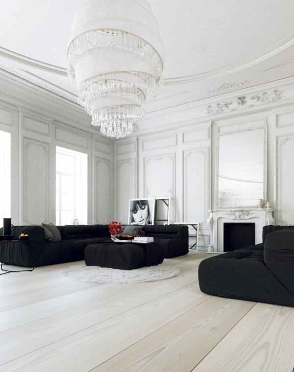 Parisian Apartment- living with large white chandelier and black lounges