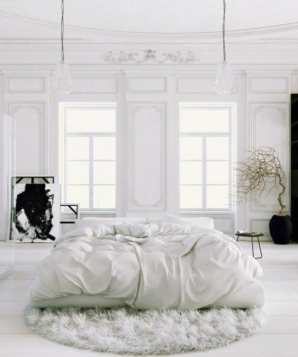 Parisian Apartment- soft white bedroom with black accents and potted tree