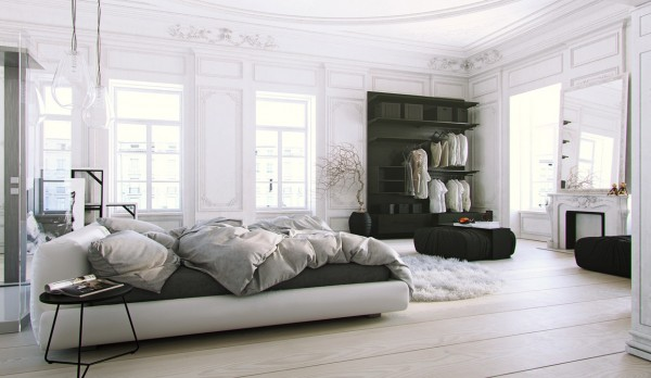 Parisian Apartment- soft white bedroom with natural light and black accents