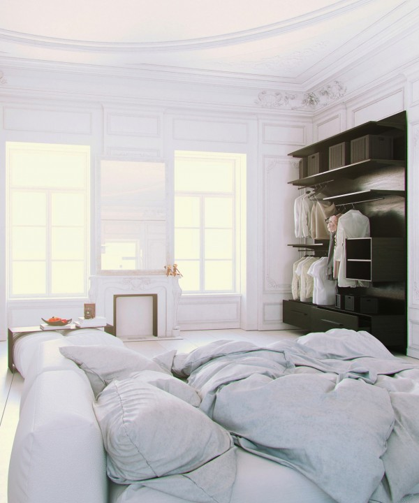 Parisian Apartment- soft white cotton bedding with fireplace