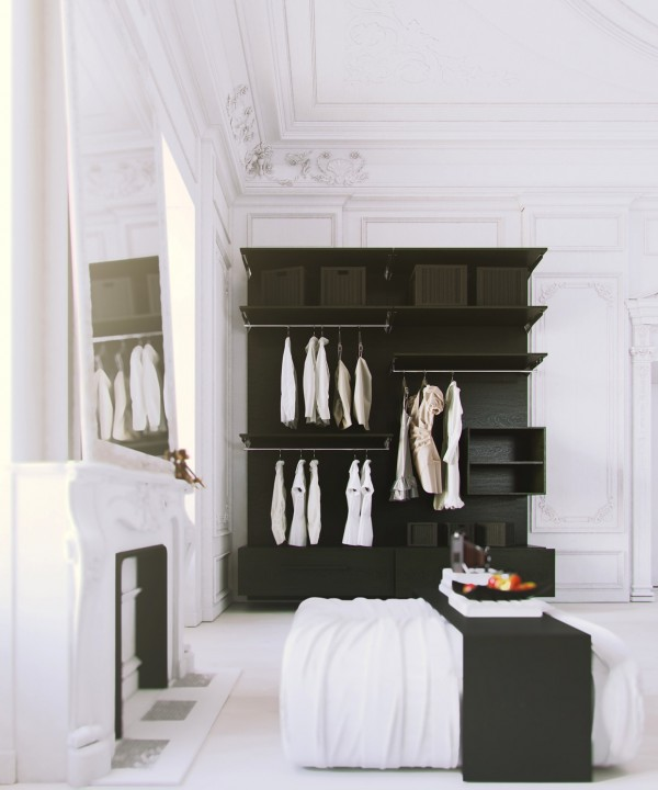 Parisian Apartment- white bedroom with black clothes storage and fireplace