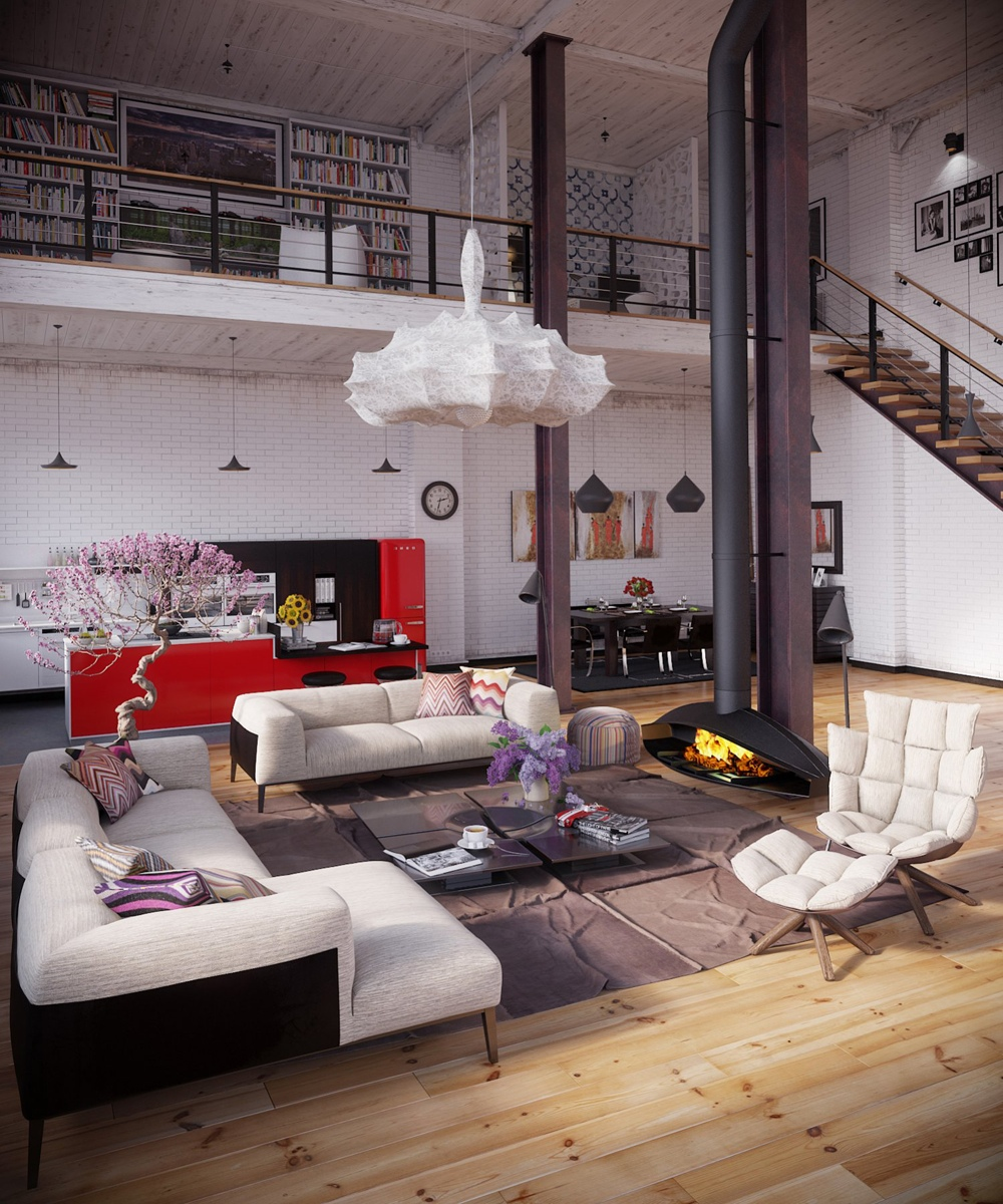 Industrial Loft With Organic Traits [Visualized] RIP3D Industrial ...