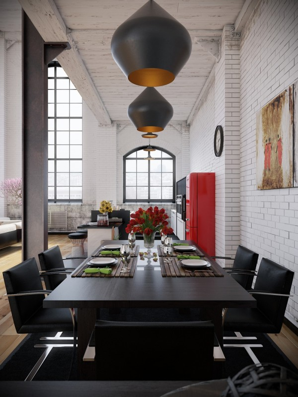RIP3D Industrial Loft- black dining seting with opaque pendant lighting