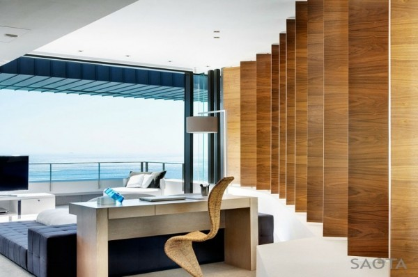 Saota- wood panelled office with ocean views
