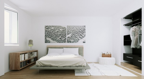 Scandinavian Apartment- natural wood and monochrome bedroom