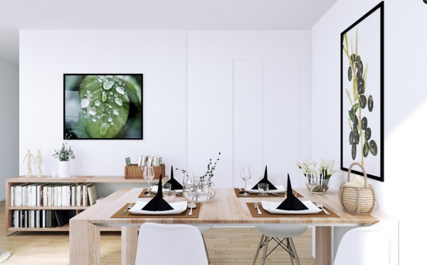 Scandinavian Apartment- open plan dining in white with wooden and green acccents