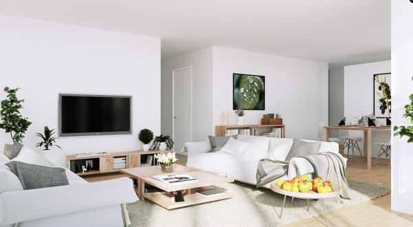 Scandinavian Apartment- white living entertainment with organic green and wooden accents