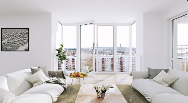 Scandinavian Apartment- white living floor to ceiling windows