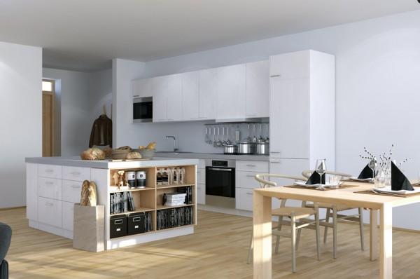 Scandinavian Studio Apartment - kitchen with open plan dining and storage island