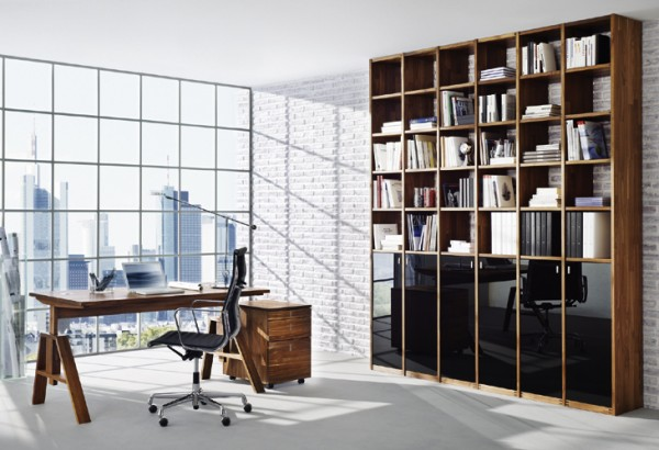Team 7- square framed bookcase and glass wall with wooden desk and chest