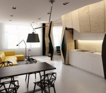 Transformer Apartment- hidden kitchen niche revealed open pland living dining